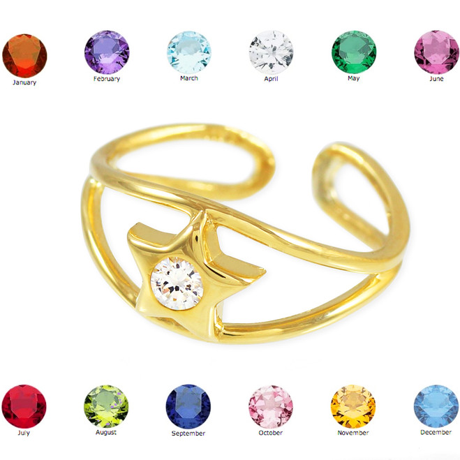 Gold Star Birthstone CZ Toe Ring