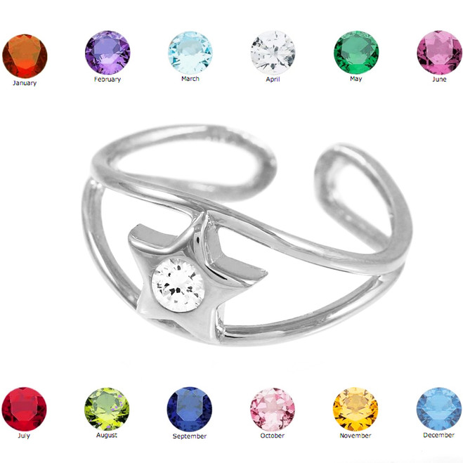 White Gold Star Birthstone CZ Toe Ring
