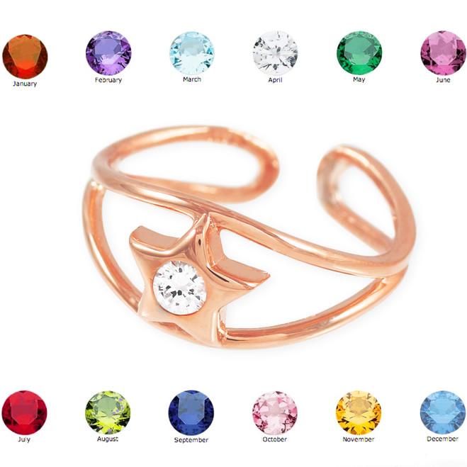Rose Gold Star Birthstone CZ Toe Ring