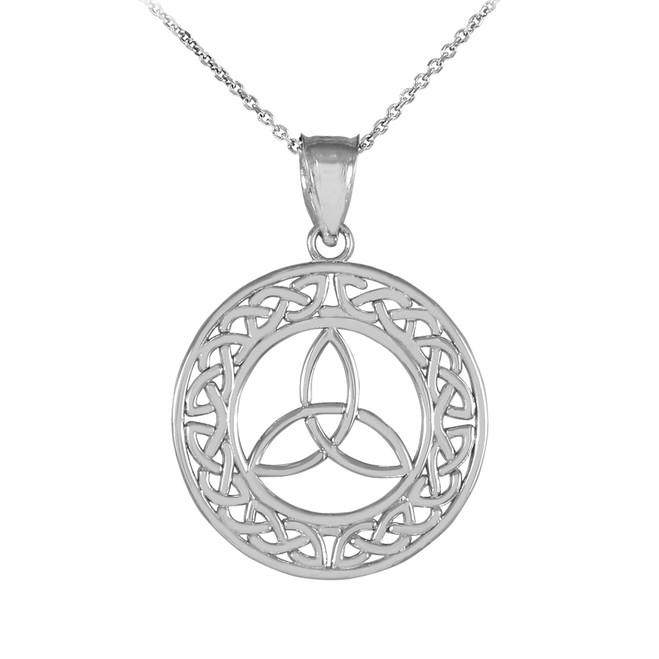 Round Silver Trinity Pendant Necklace
