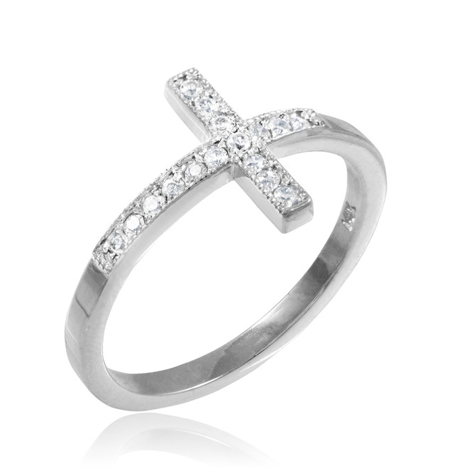 White Gold CZ Pave Sideways Cross Ring