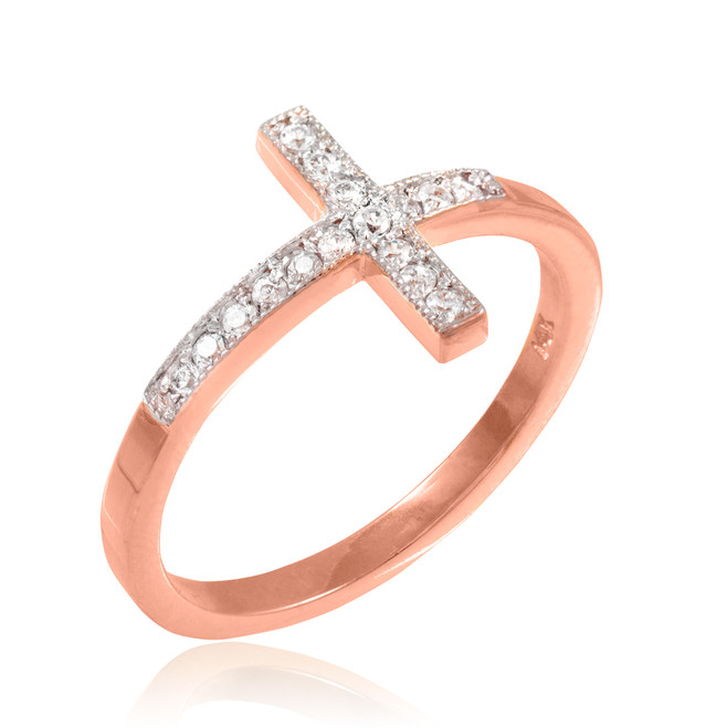 Rose Gold CZ Pave Sideways Cross Ring