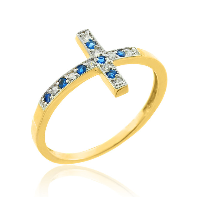 Gold Sideways Cross Blue Zirconia Ring