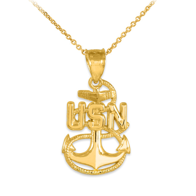 Gold United States Navy Pendant Necklace