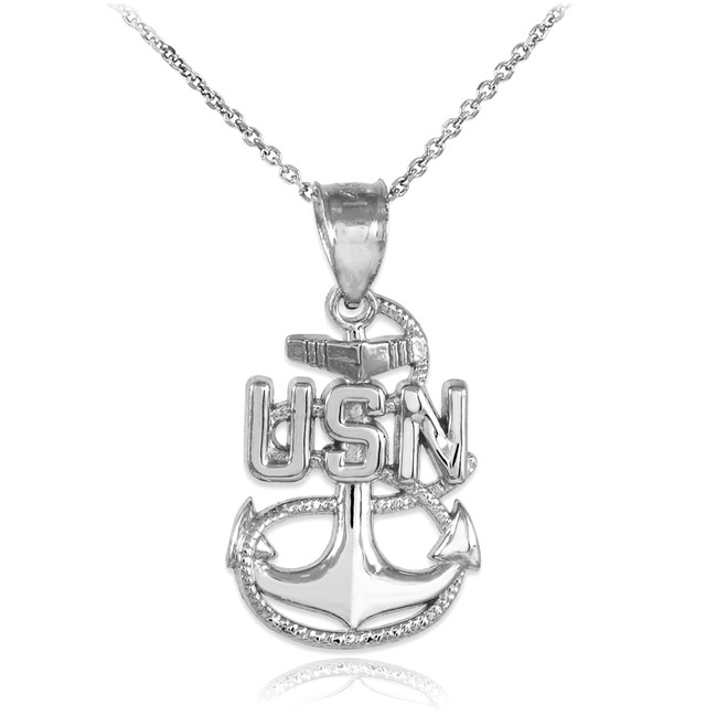 White Gold United States Navy Pendant Necklace