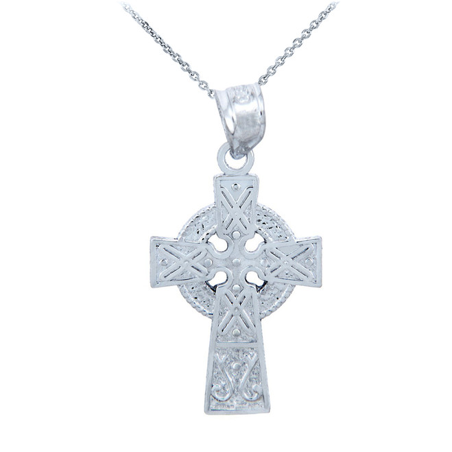 White Gold Celtic Charm Gaelic Cross Pendant Necklace
