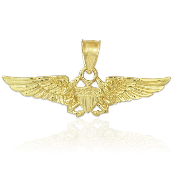 US Aviator Badge Gold Pendant