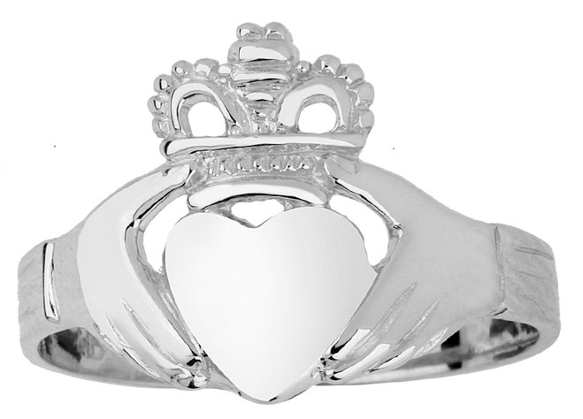 White Gold Claddagh Ring Ladies Traditional