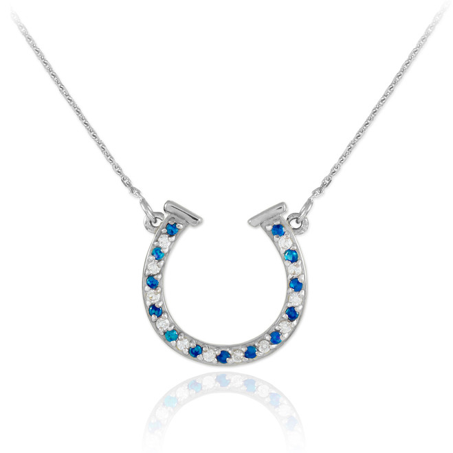 14K White Gold Clear & Blue CZ Horseshoe Necklace