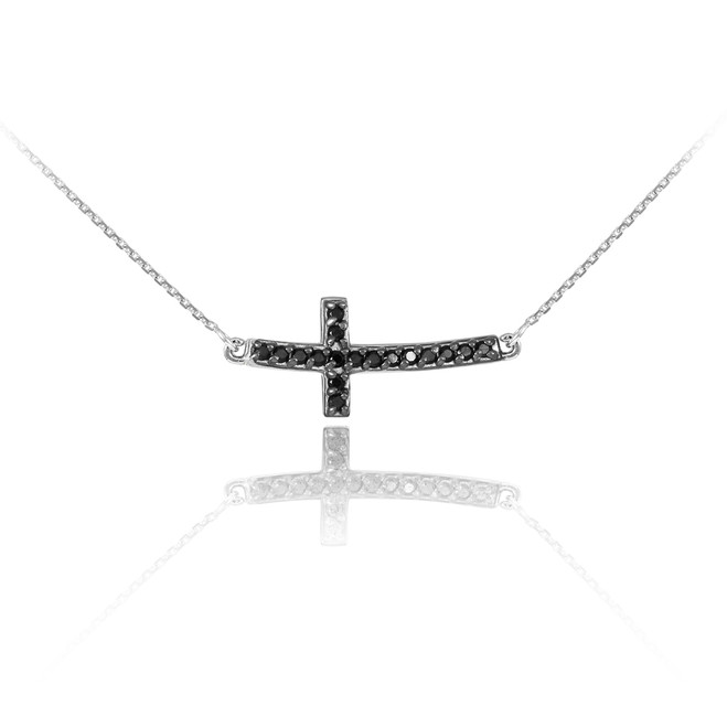 14K White Gold Sideways Curved Cross Black CZ Cute Necklace