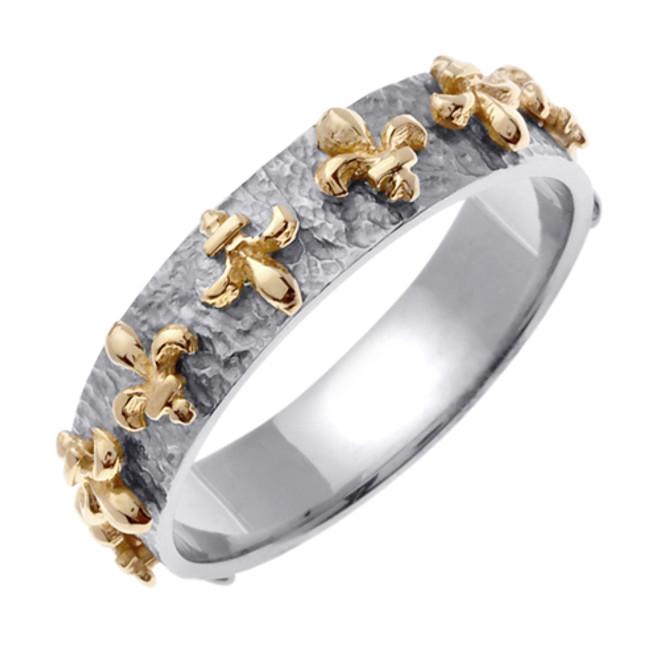 14k Two Tone Gold Fleur-De-Lis Wedding Band (5 mm)