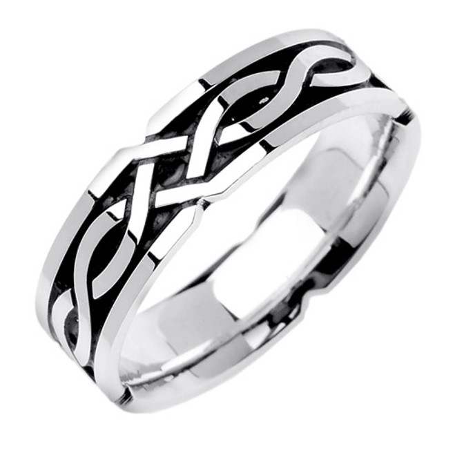 14k White Gold Celtic Knot Wedding Band (6 mm)