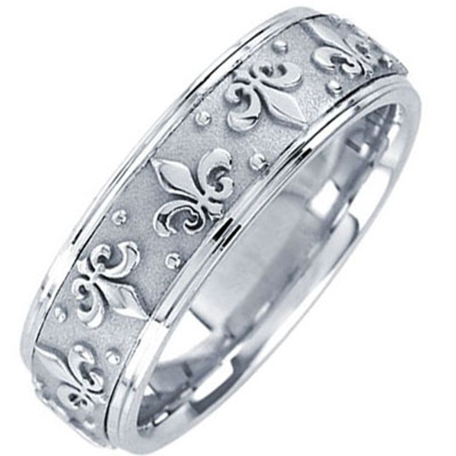 14k White Gold Fleur-De-Lis Wedding Band 7MM