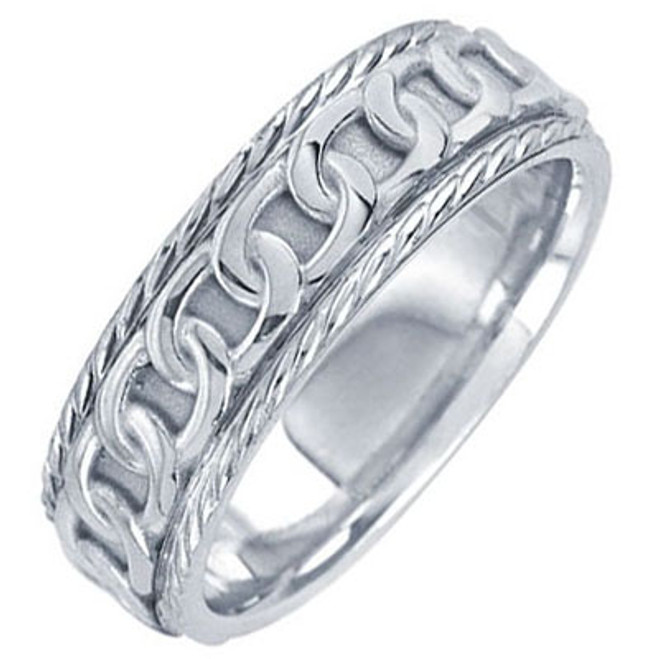 14k White Gold Celtic Chain Wedding Band (7 mm)