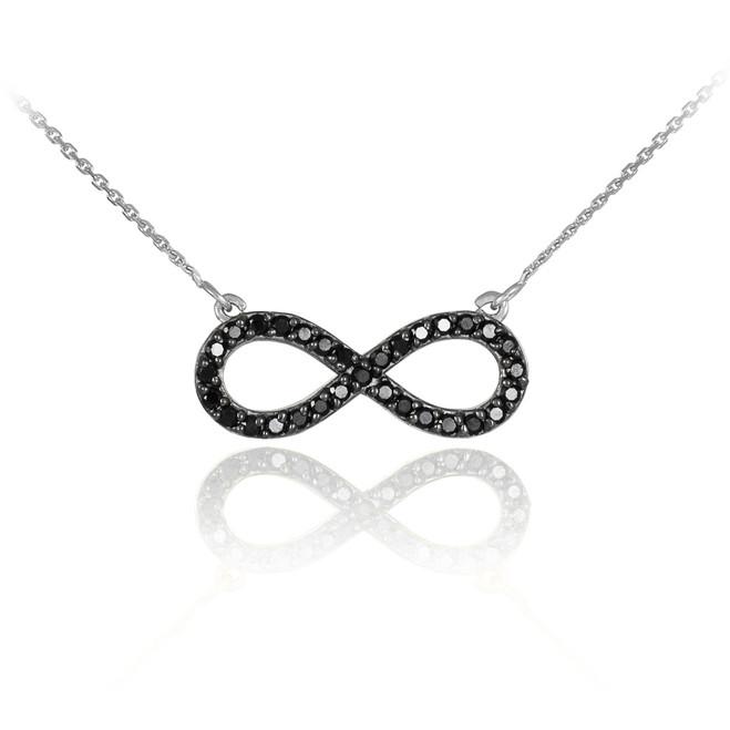14K White Gold Black Diamond Infinity Pendant Necklace