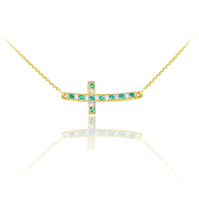 14K Gold Cute Sideways Curved Cross Green and Clear CZ Necklace