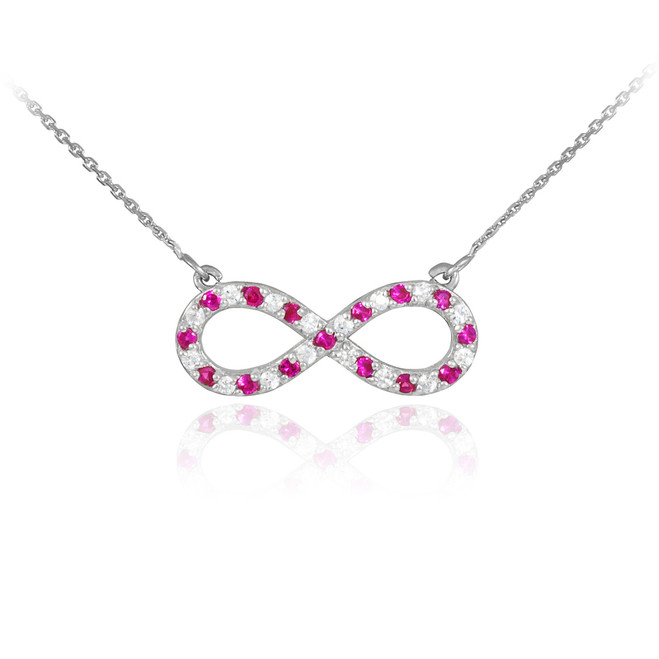 14K White Gold Diamond and Ruby Infinity Necklace