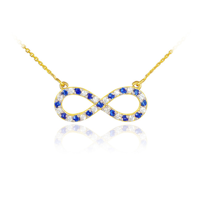 14K Gold Clear & Blue CZ Infinity Necklace