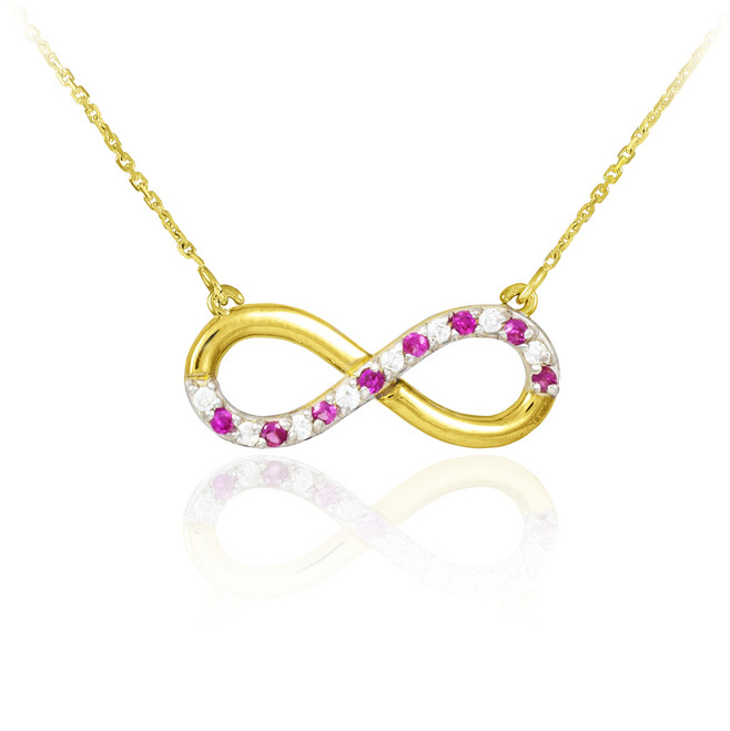 14K Gold Ruby and Diamond Infinity Necklace