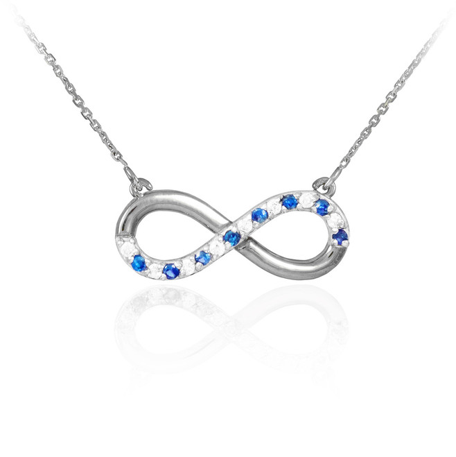 Infinity Pendant 14k Polished White Gold Clear & Blue CZ Necklace