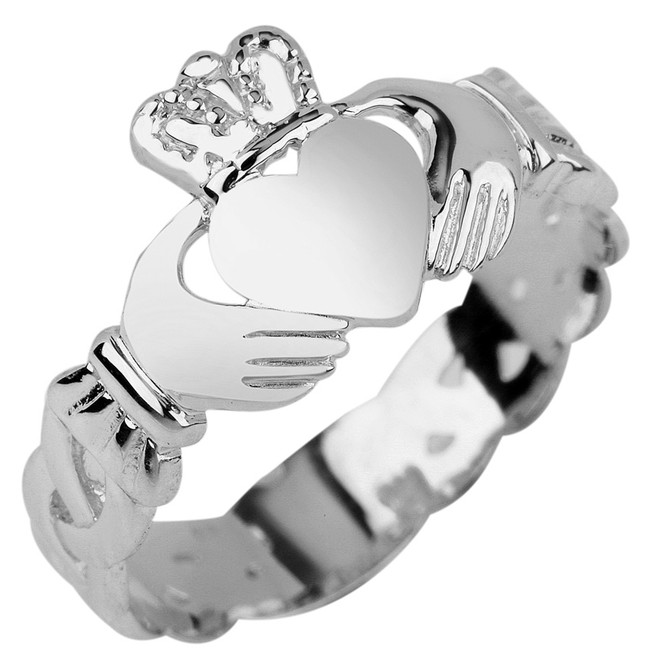 White Gold Claddagh Ring with Trinity Band ladies.  Available in 14k and 10k.