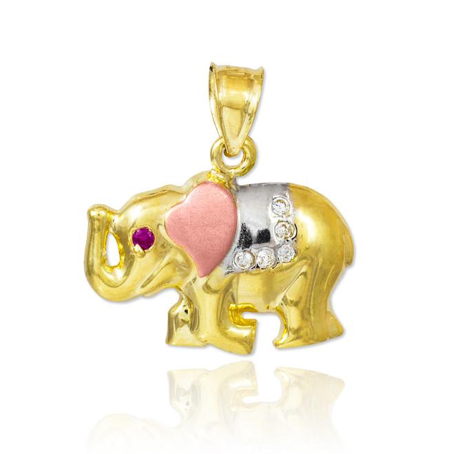 Tri-Color Gold CZ Elephant Charm Pendant