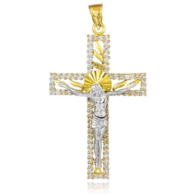 Two-Tone Gold CZ Crucifix Pendant