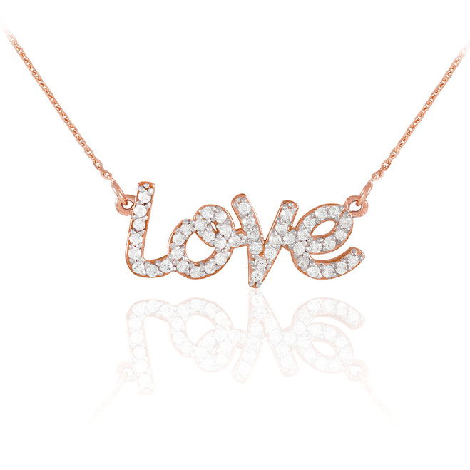 "14K Rose Gold ""Love"" CZ Necklace"
