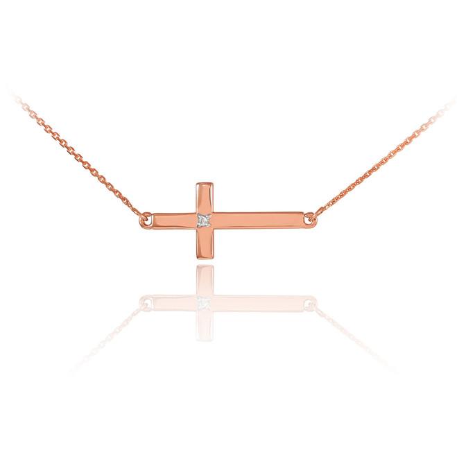 14K Rose Gold Sideways Cross Cute Diamond Necklace