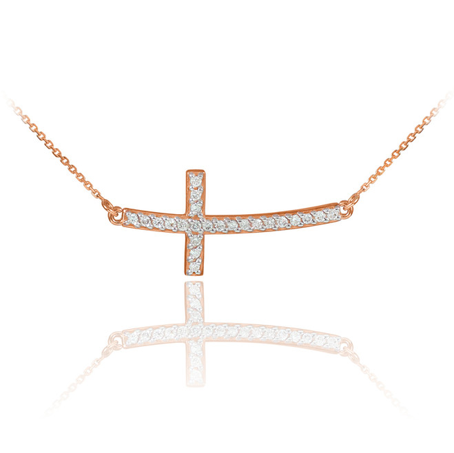 14K Rose Gold Sideways Diamond Curved Cross Pendant Necklace