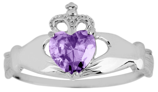 White Gold Claddagh Ring Ladies with Alexandrite Birthstone.  Available in your choice of 14k or 10k White Gold.