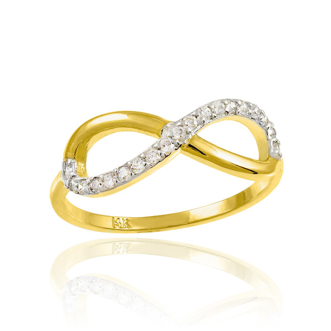 Gold Infinity Ring with Diamonds