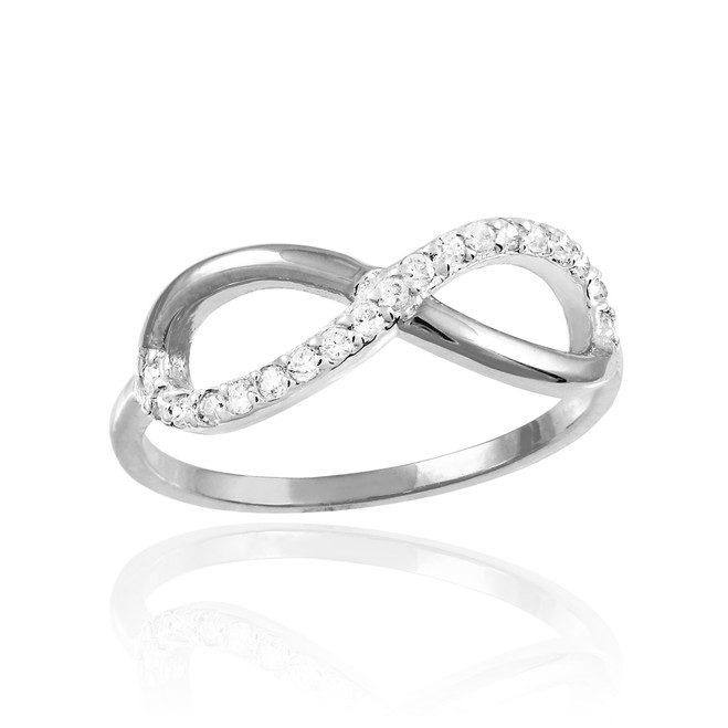 White Gold Infinity Ring with CZ