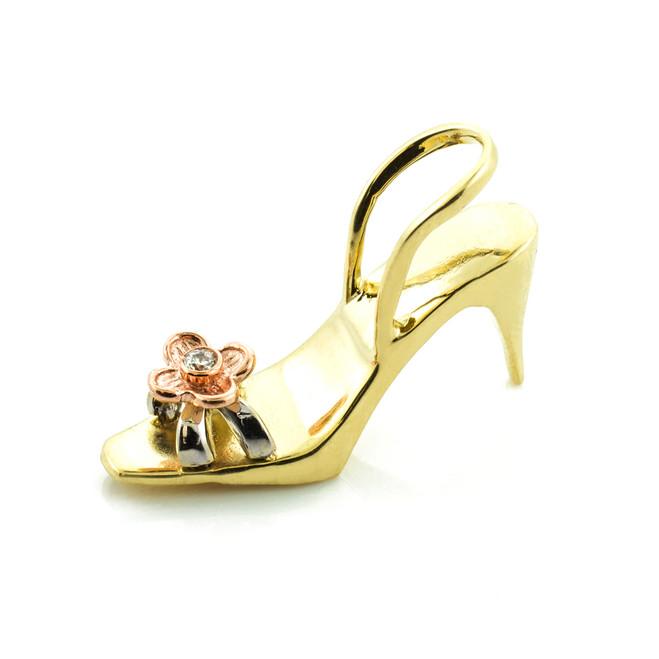 Gold 3D Shoe CZ Pendant