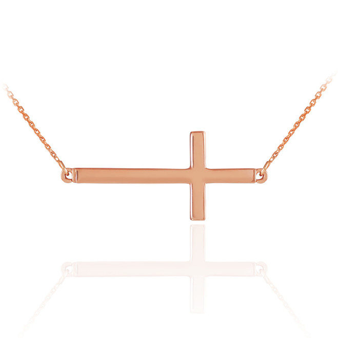 14K Solid Rose Gold Sideways Cross Necklace