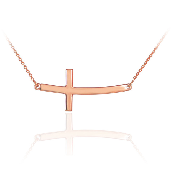 14K Solid Rose Gold Sideways Curved Cross Necklace