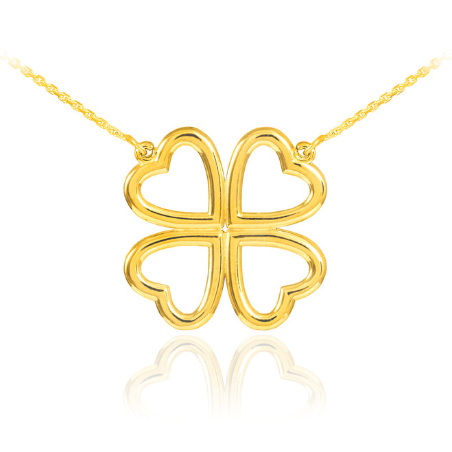 14K Gold Four-Leaf Heart Clover Necklace