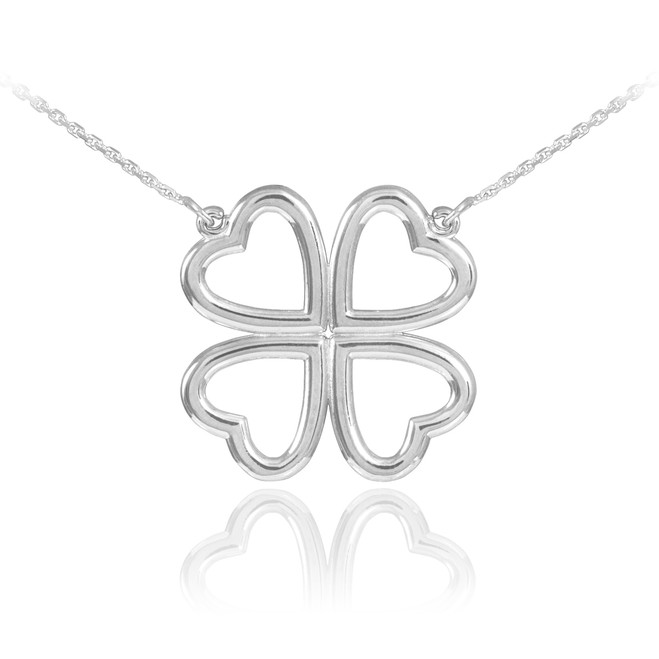 14K White Gold Shamrock Heart Necklace