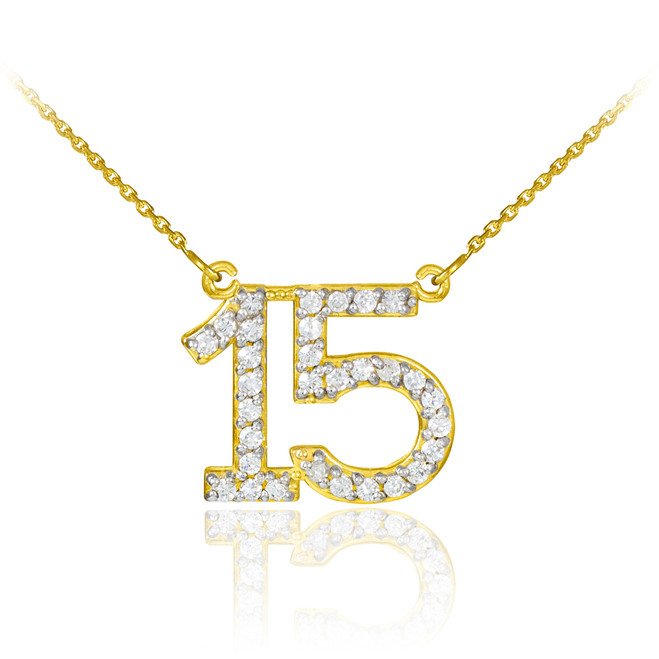 14K Gold Quinceanera 15 Anos Diamond Necklace