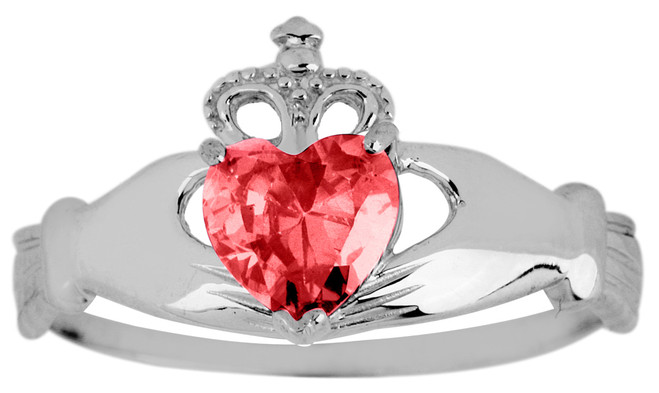 White Gold Claddagh Ring Ladies with Ruby Birthstone.  Available in your choice of 14k or 10k White Gold.