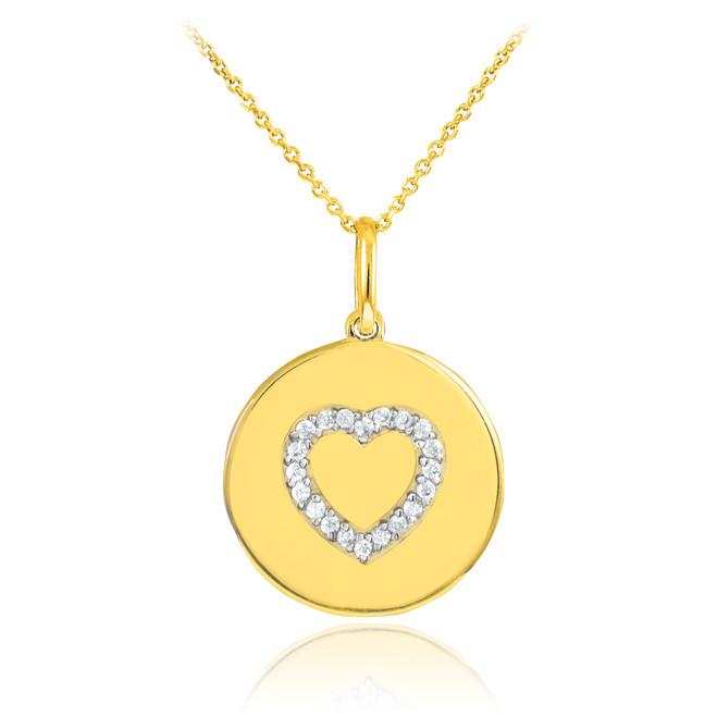 14K Gold Heart Diamond Disc Pendant Necklace