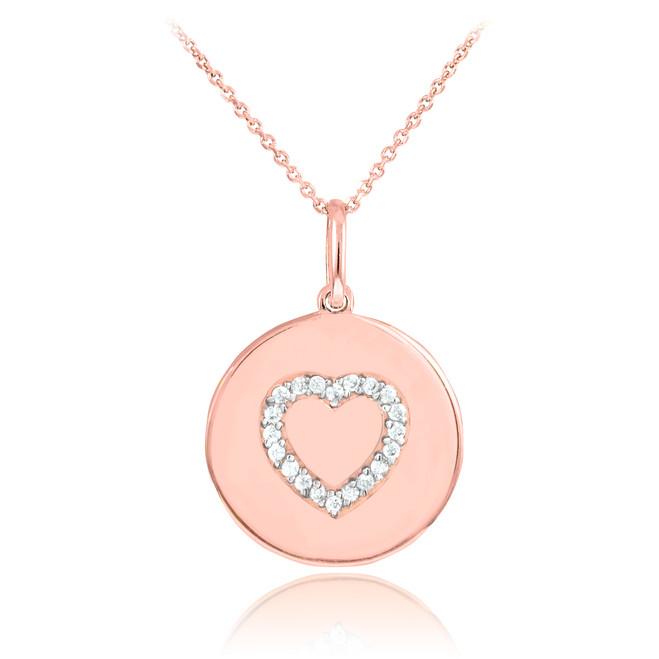 14K Rose Gold Heart Diamond Disc Pendant Necklace