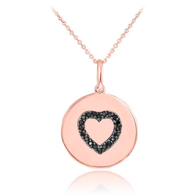 14K Rose Gold Heart Black Diamond Disc Pendant Necklace