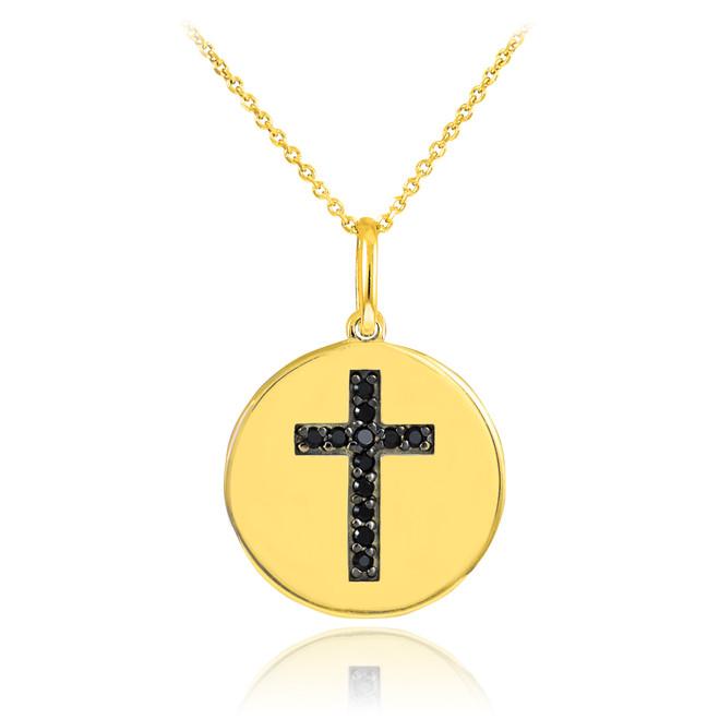 14K Gold Cross Black Diamond Disc Pendant Necklace