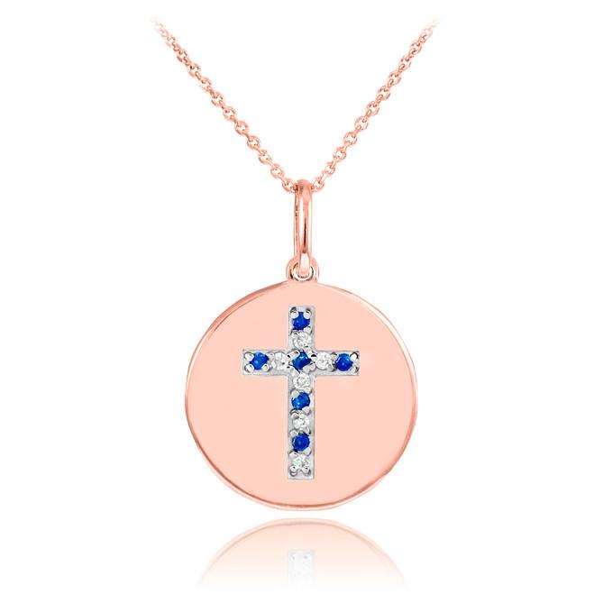 14K Rose Gold Cross Diamond and Sapphire Disc Pendant Necklace