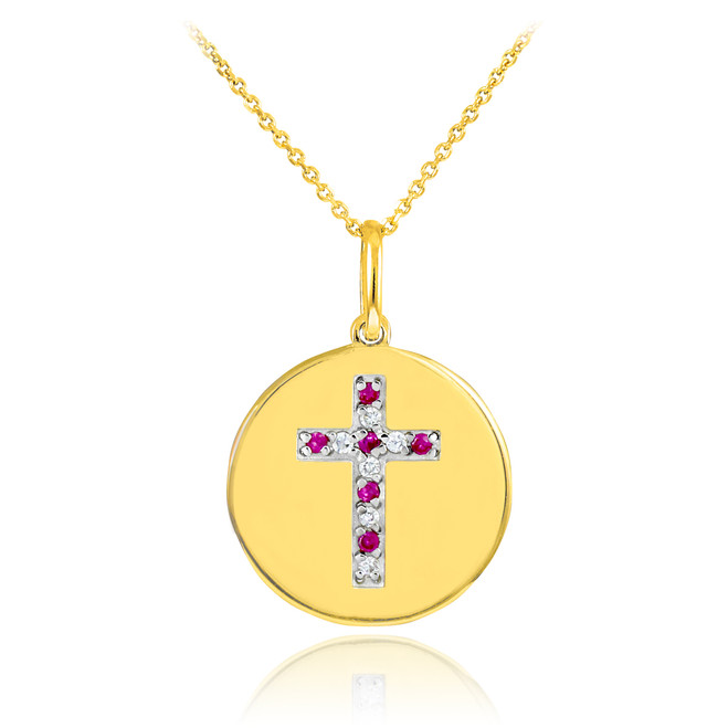 14K Gold Cross Diamond and Ruby Disc Pendant Necklace