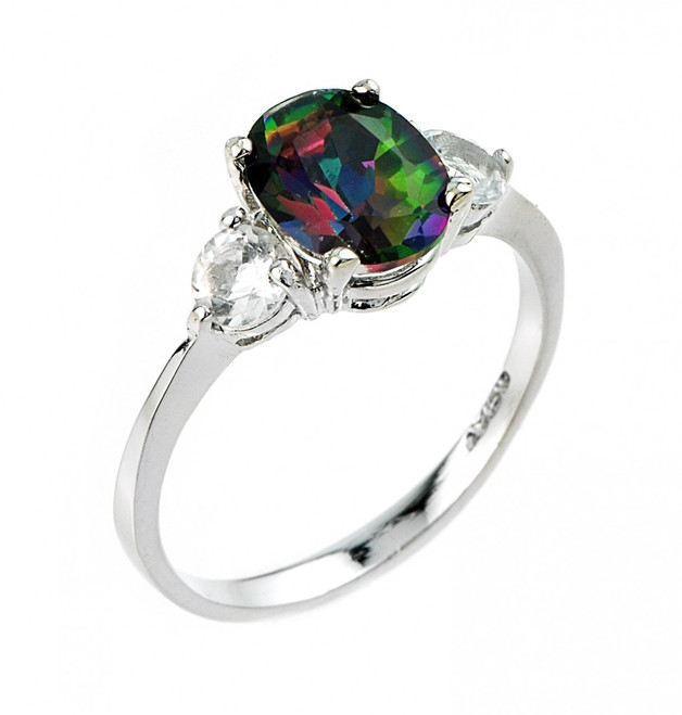 Ladies white and mystic topaz gemstone ring in 925 sterling silver.