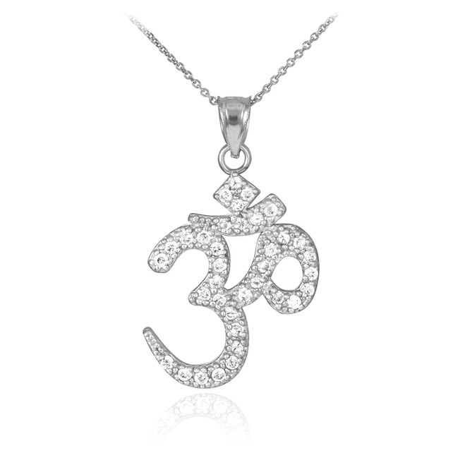 Diamond Ohm/Om pendant necklace in 14k white gold.
