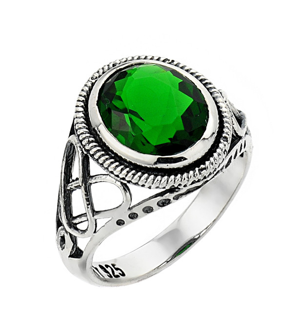 White Gold Trinity Knot Emerald Ring