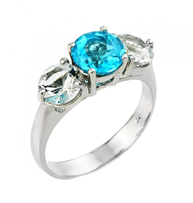 Blue and white topaz gemstone ladies ring in 10k or 14k white gold.